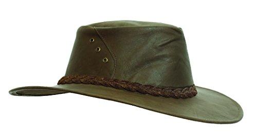Känguru- Lederhut in schwarz und braun, Echter Traveller Hut Hergestellt in Australien von Kakadu...