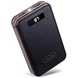 imuto Batterie Externe 20000mAh, Power Bank 20000 avec LCD Affichage, Chargeur Portable Batterie de Secours (2 Ports USB Sorties) pour iPhone, iPad, Samsung Galaxy, Huawei, Smartphones, Tablette etc