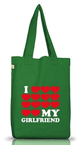 Shirtstreet24, Amo La Mia Ragazza 3, Valentinstag Jutebeutel Stoff Tasche Earth Positivo (taglia Unica) Muschio Verde