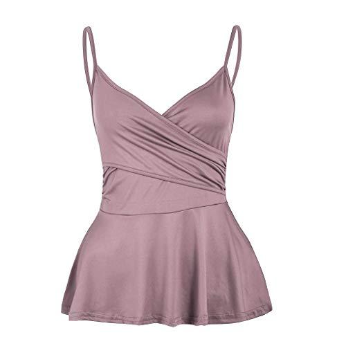 Go First Frau Sommer-Trägershirts Bluse mit Rüschensaum Ärmelloses Schößchenoberteil aus Camisole (Color : Rosa, Size : 3X-Large) (Womans 3x Strickjacke)