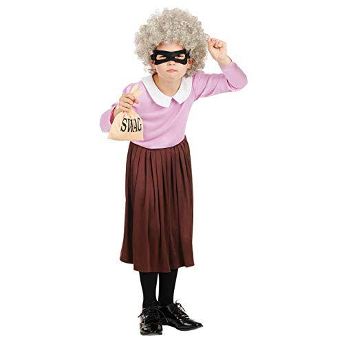 Fun Shack FNK4257XL Kostüm, Mädchen, Einbrecher-Oma, (Kind Mädchen Gangster Kostüm)