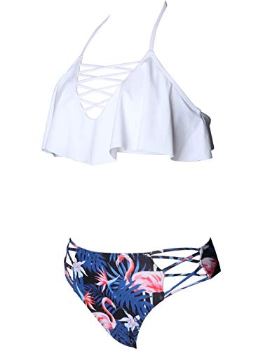078333274a Aibrou Costumi da Bagno Donna Due Pezzi Push Up, Set Bikini Top Halter  Criss Cross