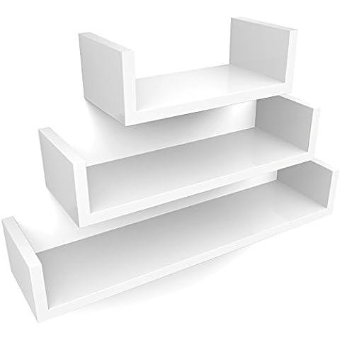 Songmics Juego de 3 estantes para libros CDs Estanterías de pared Cubos retro (blanco) LWS66W