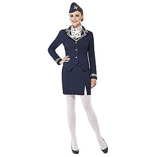Smiffys 43878X1 - Airways-Begleiterin Kostüm mit Jacke Rock Schal und Mütze, Blau