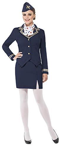 Smiffys Costume d'hôtesse de l'air, bleu, avec veste, jupe, écharpe et coiffe