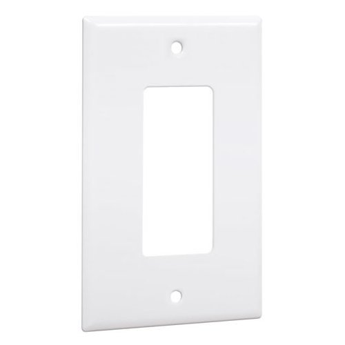 Gang White Decorator (Hubbell-Bell WW-R Standard Metallic Wallplate with One Decorator/Rocker, Single Gang, White Smooth by Hubbell Bell)