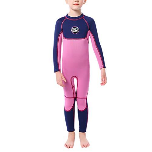 GWELL Mädchen 3MM Neoprenanzug Kinder Neopren Langarm UV-Schutz Warmhaltung Tauchanzug Badeanzug Wetsuit für Wassersport Violett M