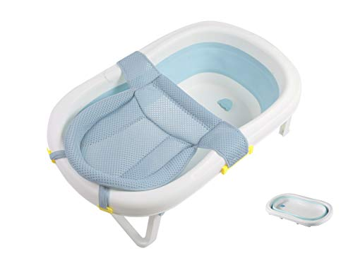 Baby Bath - Foldable Baby Bath Tub, Toddler/Kids/Infant Shower Basin with Foldable Safe and Sturdy Non Slip and Non Toxic Portable Features for Easy Bathing (Blue)