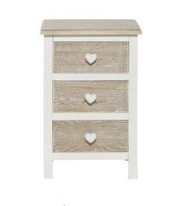 Comodino bianco in legno con richiami country stile vintage con pomelli a forma di cuore L'ARTE DI NACCHI TD-04