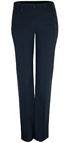 Womens Flat Front Bootleg Trouser Sewn Crease Stretch Fit Trousers Two Buttons Style Uniform Maid Housekeeper Beautician Businesswear Workwear Trousers Inside Leg 29 Inches (10, Navy)