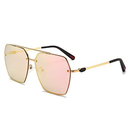 Yangjing-hl Sonnenbrille Paar Modelle konkave und konvex Form scharfe Brillen Fahren Sonnenbrille, Gold Frame Powder, Einheitsgröße