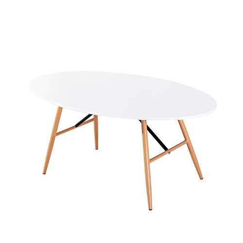 H.J WeDoo Beistelltisch Weiß Couchtisch Oval Wohnzimmertisch Skandinavisch Kaffetisch Desktop Size(110 * 60 cm), Weiß