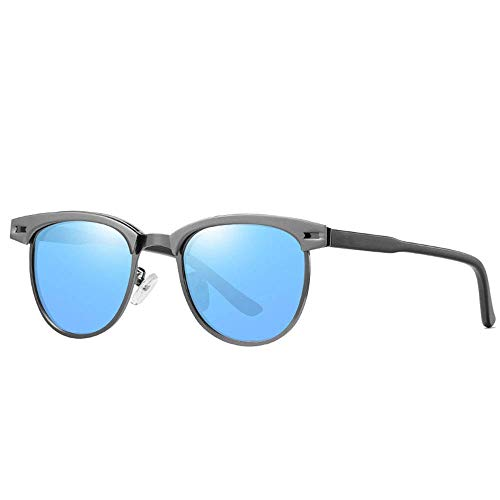 Sport-Sonnenbrille Retro Runde polarisierte Sonnenbrille Mode Persönlichkeit Sonnenbrille Unisex Laufen, Reiten, Angeln Sonnenbrille (Farbe: Gun Frame Ice Blue Stück C2) (Ice Gun)