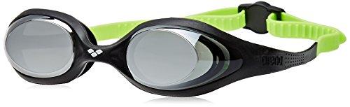 arena Kinder Unisex Wettkampf Schwimmbrille Spider Junior Mirror (Verspiegelt, UV-Schutz, Anti-Fog Beschichtung), Black-Silver-Green (56), One Size
