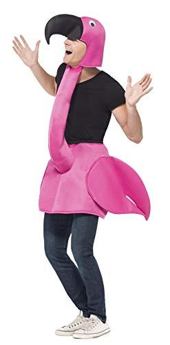 Flamingo Kostüm Rosa Einteiliger gepolsterter Körper mit angesetztem Hals & Haube, One Size (Uk Halloween-kostüm Lustig)