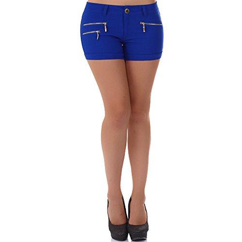 malucas Damen Jeans Kurze Hose Hotpants Shorts Bermuda Capri Hüfthose Slim Stretch Panty, Größe:40, Farbe:Blau (Slim-jeans Capri)