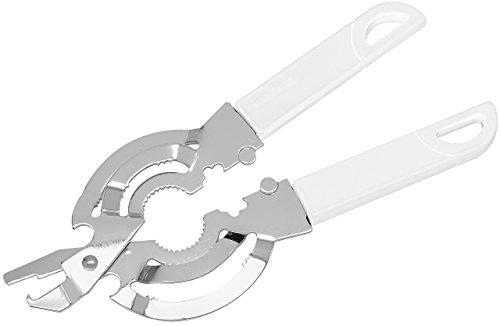 FACKELMANN Gläseröffner, Schraubdeckelöffner inkl. Vakuumöffner/Schraubverschluss, Drehverschlussöffner mit rutschfestem, ergonomischem Griff (Farbe: Weiß/Silber), Menge: 1 Stück