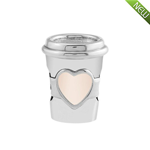 PANDOCCI 2018 Sommer Drink Cup zu gehen Charm, rosa Emaille Bead 925 Silber DIY passt für Original Pandora Armbänder Charm Modeschmuck