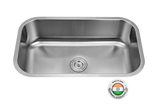SILVERLINE Stainless Steel Single Bowl Sink  Matt Chrome, 30 x 18 x 9 Inches