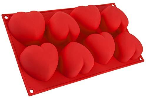 BlueFox Silikonform mit Herzen, 8 Herzchen, Backform für Muffins, Brownies, Cupcake, riesige Eiswürfel, Bowle, Valentinstag, Liebe, Hochzeit, Kuchen, Muffincups, Schokolade, Seife, Farbe: Rot