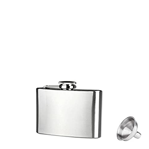 Culater®Stainless Steel 6 Sizes Pocket Hip Flask Alcohol Whiskey Liquor Screw Cap + Funnel (4oz)