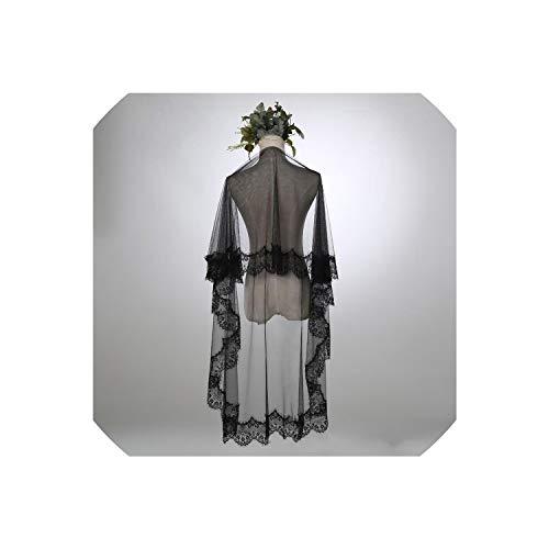 Schleier für Hochzeitsfotografie weiche Tulle SpitzeApplique Rand Tailed Kapelle Bride Veils Zubehör, weiß, 300cm