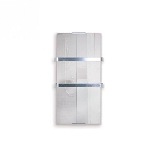 PURLINE ZAFIR V600T LUX - Elektrischer Handtuchheizkörper aus gehärtetem Glas mit Spiegeleffekt, WIFI App-Steuerung und Wochenprogramm