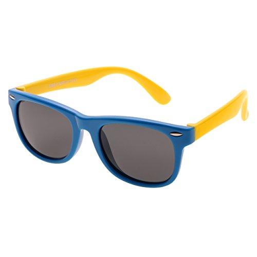 Forepin® Gafas de Sol Niño (2-10años) Azul Wayfarer Marco Flexible Lentes Polarizadas UV400