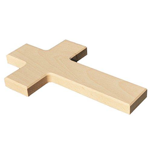 Blanko Wandkreuz aus Holz - Kreuz zum Bemalen & Gestalten, Buche hochwertige Verarbeitung H 20cm
