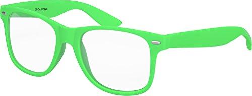 Balinco Hochwertige Nerd Sonnenbrille mit Klarglas matte Rubber Retro Vintage Unisex Brille mit Federscharnier - 17 verschiedene Farben/Modelle wählbar (Hellgrün)