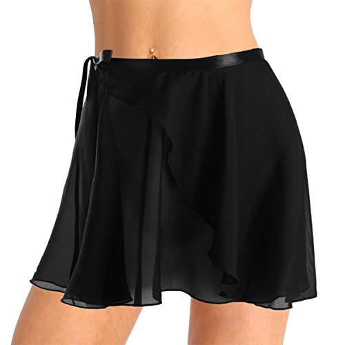 Alvivi Frauen&Mädchen Chiffon Ballett Rock Tanz Wrap Skirt Ballett Dancewear Wickelrock Ballettrock Ballett Minirock für Ballettbody Schwarz One Size -