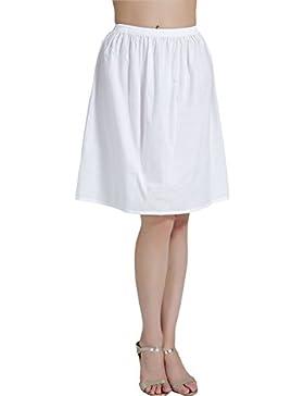 BEAUTELICATE Mujer Enagua de Algodón Corta Antiestática Larga Combinación para Vestido Antideslizante Plain Falda...