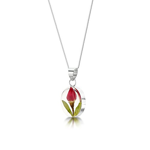 Shrieking Violet: Kettenanhänger - mini Rosenblüte - oval - 925 Sterling Silber - 45 cm Kette (Längliche Ring Silber)
