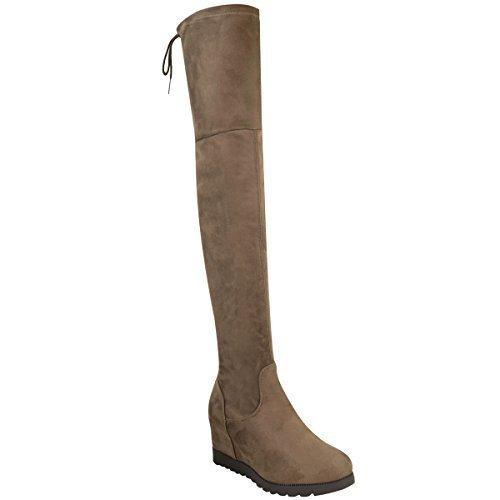 Damen Damen Überknie Keilabsatz Stiefel Lang Hoch Schenkelhoch Promi Winter Schuh Größe Mokkabraun Kunstwildleder