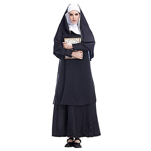 Kostüm Party Damen City - Zhuhaixmy Damen Mädchen Nonne Kleid Große Größen Schwarz Halloween Party Cosplay Kostüm Set