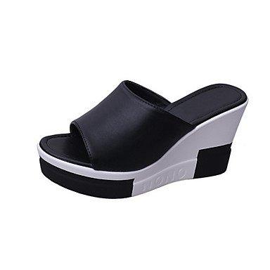 Sandálias Lvyuan Vestir-ocasional-pu-flat Cunha Calcanhar Calcanhar-confortável-preto Branco