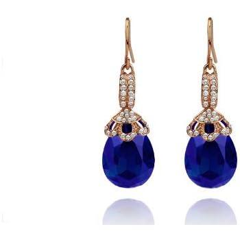 61326cb31 Vintage Long Luxury Teardrop Gold & Sapphire Royal Blue Drop Earrings E580