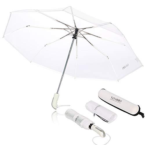 Regenschirm Taschenschirm - VAN GROEN - transparent - sturmfest bis 120 km/h - inkl. Schirm-Tasche & Reise-Etui - Auf-Zu-Automatik, klein, leicht & kompakt, windsicher, stabil (weiß)
