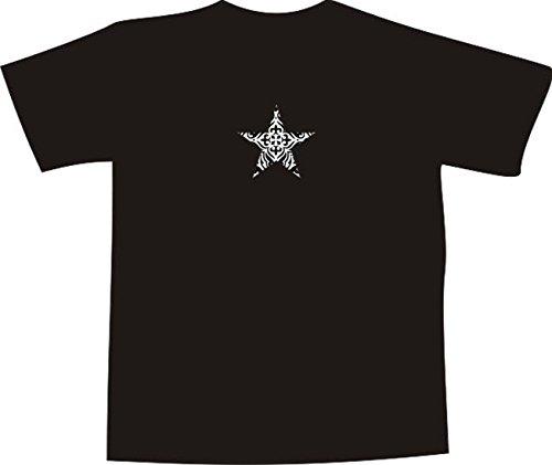 T-Shirt E1158 Schönes T-Shirt mit farbigem Brustaufdruck - Logo / Grafik / Design - abstraktes Ornament mit schönen Ranken und Blättern im Stern Schwarz