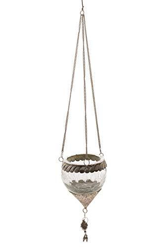 DARO DEKO Crackle Glas Teelicht Hänger rund L Ø 12cm - 1 Stück
