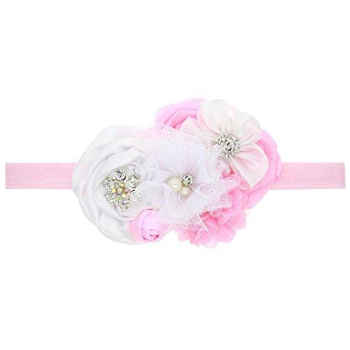 Stirnbänder Longra Baby Kinder Mädchen blühen rosa Tuch Haarband elastisches Stirnband (12 * 7 + Elastic für 0-5 Jahre altes Kind) (Rosa Elastisches Stirnband)