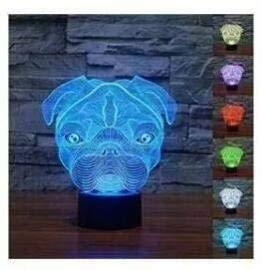 Süße 3D-Hunde-Nachtlampe, Mops, Licht, LED-Tischlampe, Leuchte, Farbwechsler mit 7Farben, Tischleuchte, Dekoration, Spielzeug, Geschenk
