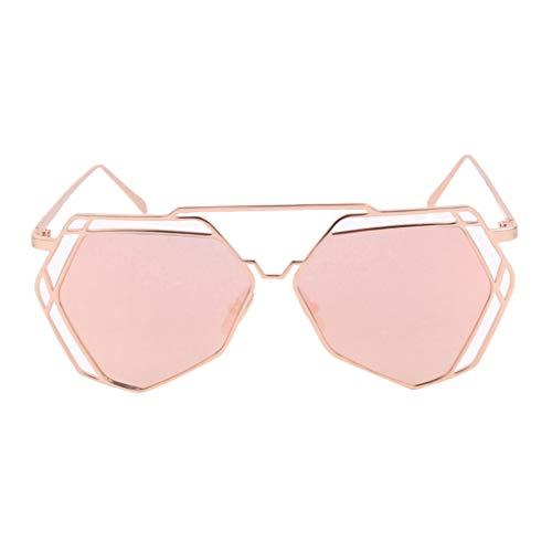Meisijia Frauen Geometrische Polygon Metall Sonnenbrillen Hohl Trim Unregelmäßige UV400 Eyewear Dame Summer Sun Glasses