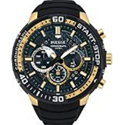 Pulsar Men's 47mm Black Rubber Band Steel Case S. Sapphire Quartz Chronograph Watch PT3550X1