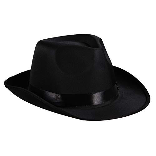 Gangsterhut Satin Trilby Edler Herren-Hut Al Capone Mafia 20er Jahre 30er Partyhut Spaßhut Kopfbedeckung Hochwertiges Kostüm-Zubehör Karneval Fasching Einheitsgröße ()