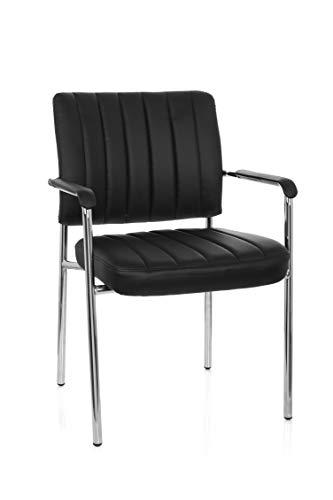 hjh OFFICE 706802 Besucherstuhl SOMOS V Kunstleder Schwarz/Chrom Design Konferenzstuhl mit Armlehnen