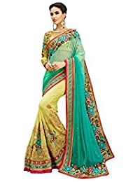 Sarees Below 2000 Rupees Women's Georgette & Net Saree With Blouse Piece (Turquoise & Yellow) Sarees( Party Wear...