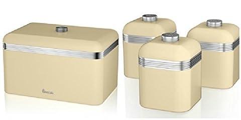 Swan Kitchen Accessories Retro Set - Retro Cream Breadbin and 3 Cream Canisters Set