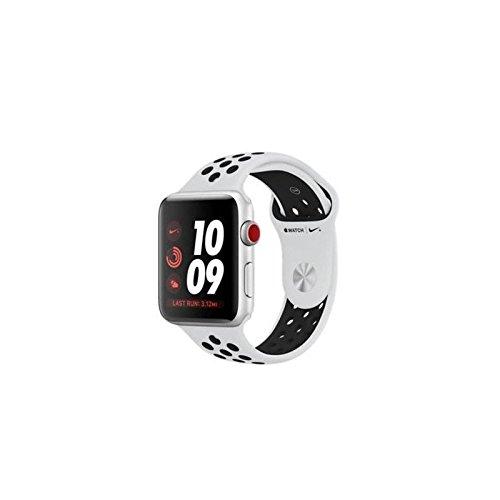 Apple Watch Nike+, 42 mm, GPS + Cellular, Aluminium Gehäuse, Silber mit Nike Sportband, Schwarz/Pure Platinum, 2017 Platinum Gps
