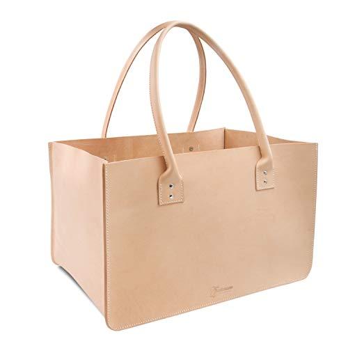 THIELEMANN DALLAS - Bolsa para leña de chimenea de piel natural, incluye...